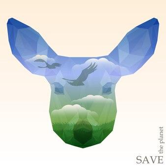 푸른 초원이 있는 사슴 머리와 구름과 함께 푸른 하늘을 나는 백조의 실루엣. 디자인 카드, 초대장 또는 포스터를 위한 자연과 동물 보호를 주제로 한 개념 일러스트레이션