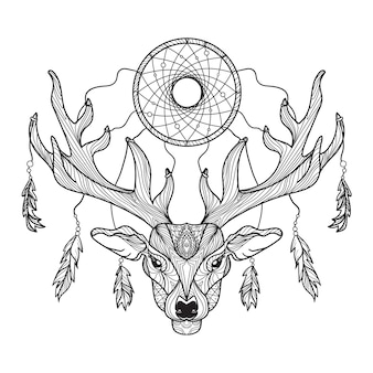 Deer head with horns and dreamcatcher for t-shirt