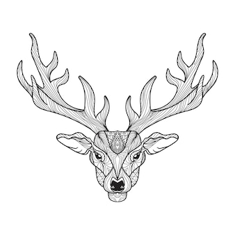 Deer head with horns for t-shirt, tattoo, print, fabric, poster and illustrations. vector