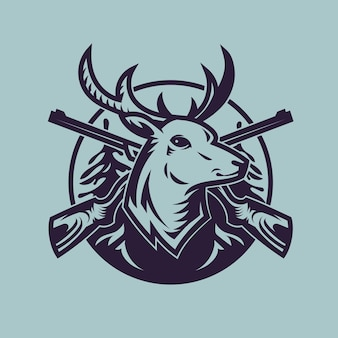 Deer head with rifles. concept art of hunting in monochrome style.