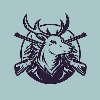Голова оленя с винтовками. концепт-арт охоты в монохромном стиле.