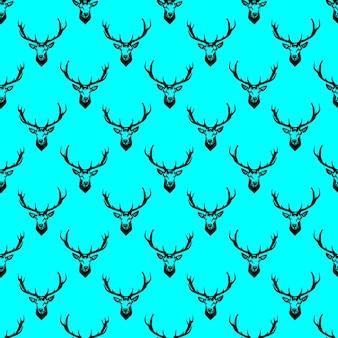 鹿の頭のシームレスなパターン。テクスチャベクトルの背景