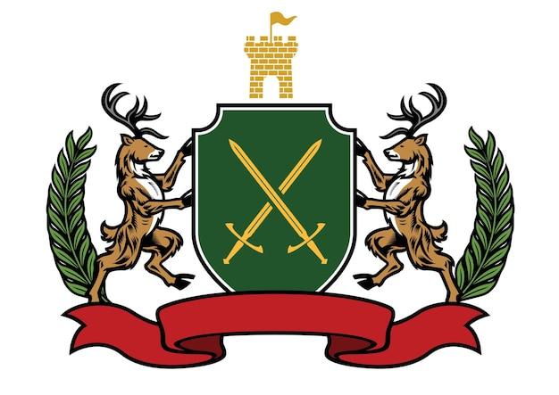Deer heraldry set in classic coat of arms style