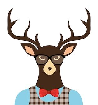 Deer hipster dressed glasses
