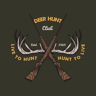 鹿の角狩り野生エンブレムバッジ