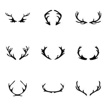 Deer horn vector. simple deer horn illustration, editable elements, can be used in logo design