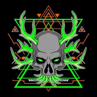 Deer horned skull with sacred geometry for commercial use