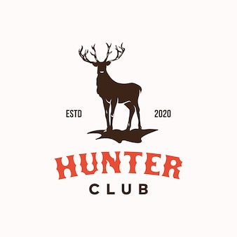 Deer hunter club logo design template