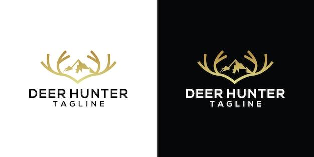 사슴 사냥꾼 로고 디자인 템플릿 영감