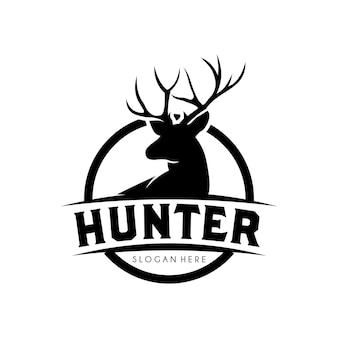 Deer hunter logo design template