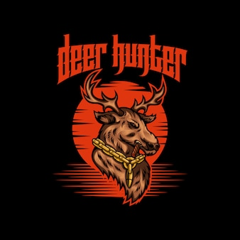 Deer hunter vector illustration