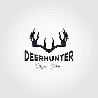 사슴 사냥꾼 빈티지 로고 벡터 일러스트 디자인