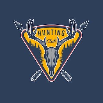 Дизайн эмблемы приключений охоты на оленей