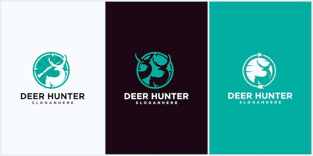 Deer hunting club logo design template vector silhouette of deer head deer hunting club, hunting club logo template. two deer and rifle silhouettes isolated on white background.