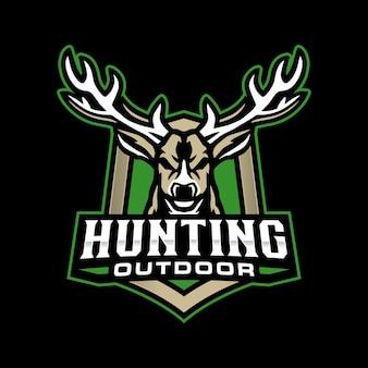 鹿狩りのマスコットロゴ