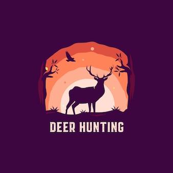 鹿狩猟シルエットロゴ