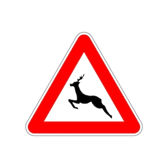 Deer icon on the triangle red and white road sign isolated on white