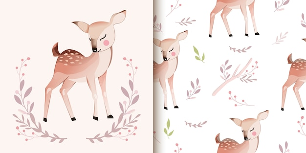 Deer illustration and seamless pattern