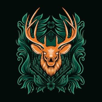 飾り付きの鹿のイラスト