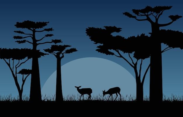 어두운 밤 사바나 풍경 아프리카 야생 동물 그림에 사슴