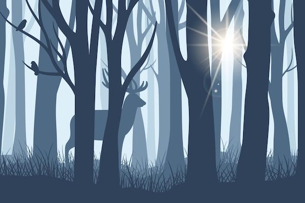 Олень в лесном пейзаже. дикий лань или силуэт северного оленя на фоне темных лесных деревьев с солнечным лучом сквозь туман векторная иллюстрация