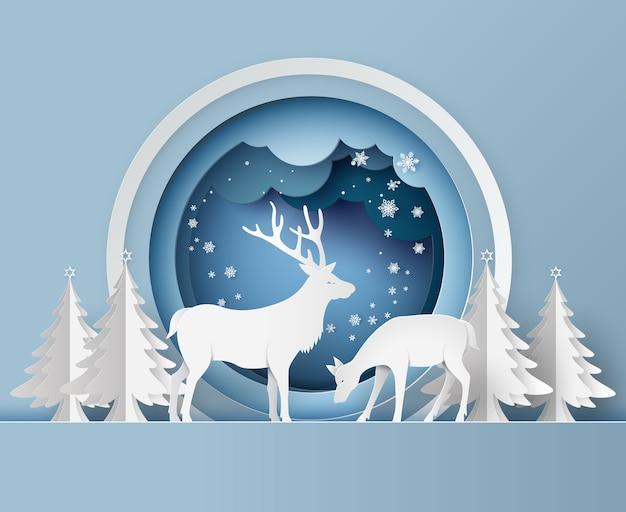 Олень в лесу со снегом. бумажный художественный стиль.