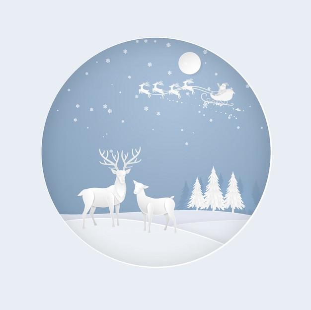 겨울 시즌에 눈, 산타 클로스와 숲에서 사슴. 크리스마스, 새해