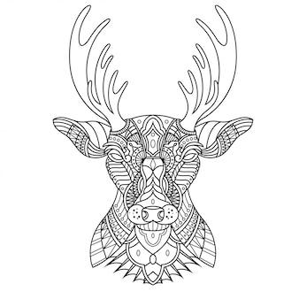 直線的なスタイルの鹿