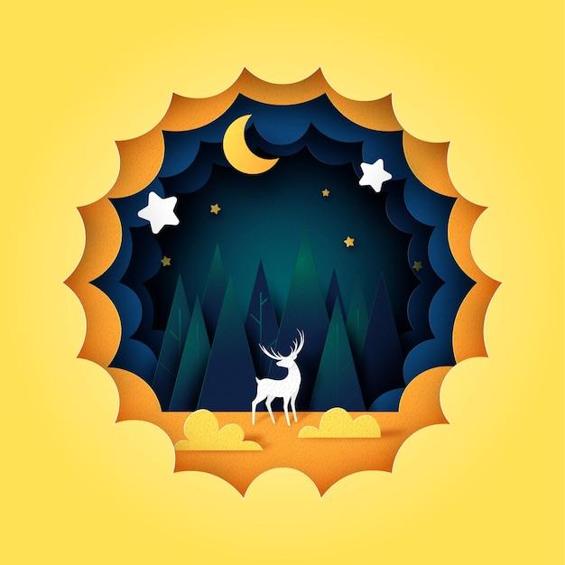 夜空の紙のカットスタイルの鹿。松林、星と三日月と濃い青の曇りの風景。ベクトルイラスト。
