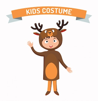 Deer kid costume isolated vector illustration