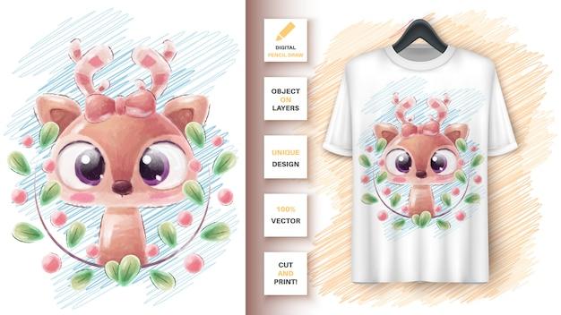 Cervo in foglia - poster e merchandising.