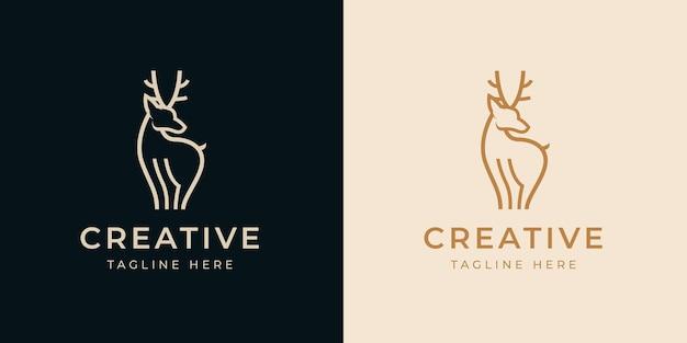 사슴 라인 로고 디자인 서식 파일