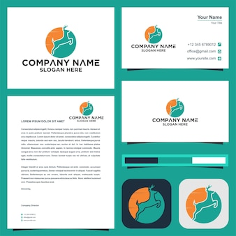 Deer logo abstract logo and business card