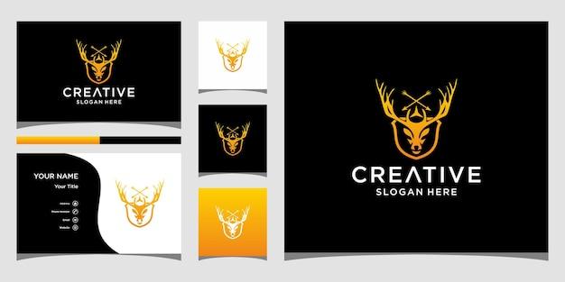 Дизайн логотипа оленя с шаблоном визитной карточки