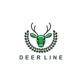Deer logo line art icon symbol vector illustration