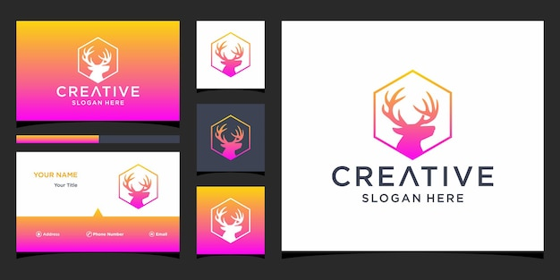 Deer logo with business card template