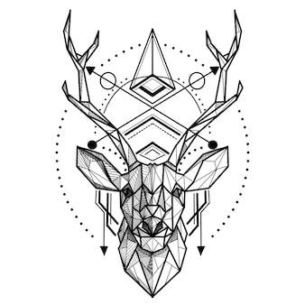 Deer low poly. abstract polygonal the head of a deer. geometric linear animal