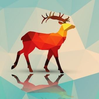 ポリゴンの背景で作られた鹿