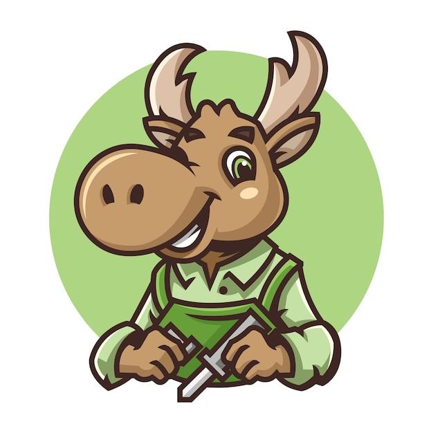 鹿のマスコットのロゴイラスト