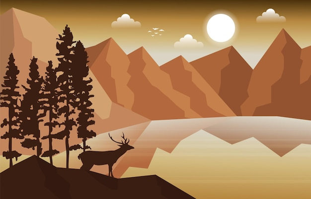 Олень гора пик сосны природа пейзаж приключения иллюстрация