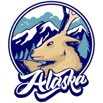 Deer and mountain winter scene landscape