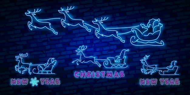 Deer neon sign. night party. happy merry christmas. neon sign, bright signboard