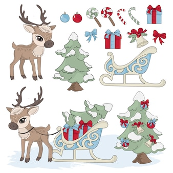 Deer new year color illustration set