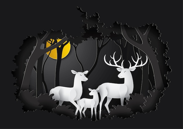 Deer in the night forest.