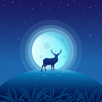 Deer on night with full moon