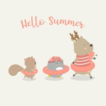 사슴, 펭귄과 다람쥐 수영 반지 여름 방학에 걷기, 손으로 그린 스타일 평면 그림.