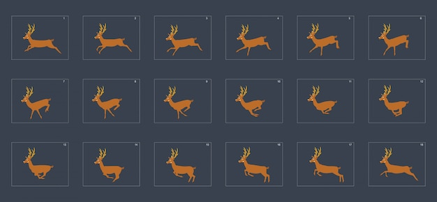 Deer run cycle animation sprite sheet.