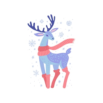 Deer in scarf and knitted stockings