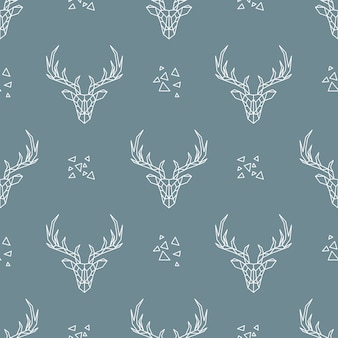 Deer seamless pattern on dark blue background.