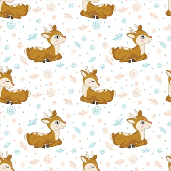 Deer seamless pattern with leaves and flowers on a white background. autumn season with a cute forest animal